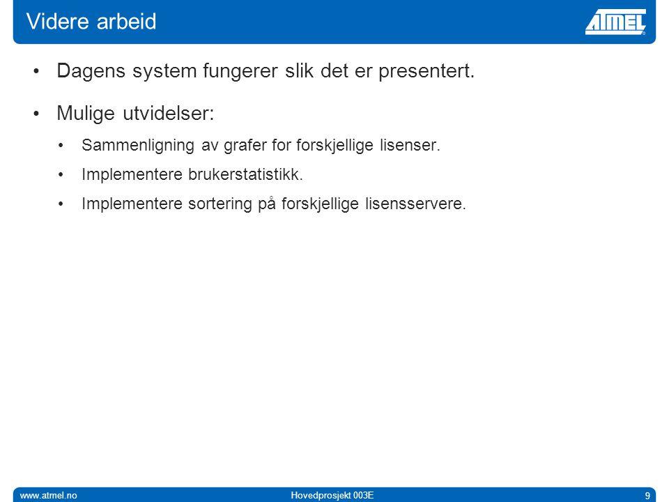 www.atmel.noHovedprosjekt 003E 9 Videre arbeid • Dagens system fungerer slik det er presentert.