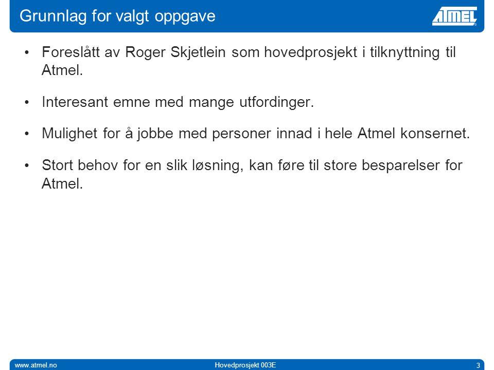 www.atmel.noHovedprosjekt 003E 3 Grunnlag for valgt oppgave • Foreslått av Roger Skjetlein som hovedprosjekt i tilknyttning til Atmel.