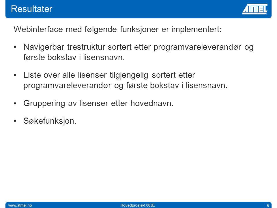 www.atmel.noHovedprosjekt 003E 6 Resultater Webinterface med følgende funksjoner er implementert: • Navigerbar trestruktur sortert etter programvareleverandør og første bokstav i lisensnavn.