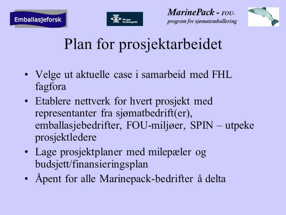 MarinePack - FOU- program for sjømatemballering Plan for prosjektarbeidet •Velge ut aktuelle case i samarbeid med FHL fagfora •Etablere nettverk for hvert prosjekt med representanter fra sjømatbedrift(er), emballasjebedrifter, FOU-miljøer, SPIN – utpeke prosjektledere •Lage prosjektplaner med milepæler og budsjett/finansieringsplan •Åpent for alle Marinepack-bedrifter å delta