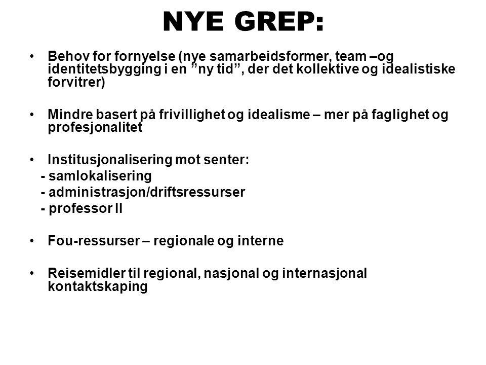 """NYE GREP: •Behov for fornyelse (nye samarbeidsformer, team –og identitetsbygging i en """"ny tid"""", der det kollektive og idealistiske forvitrer) •Mindre"""