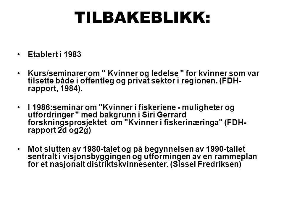 TILBAKEBLIKK: •Etablert i 1983 •Kurs/seminarer om Kvinner og ledelse for kvinner som var tilsette både i offentleg og privat sektor i regionen.