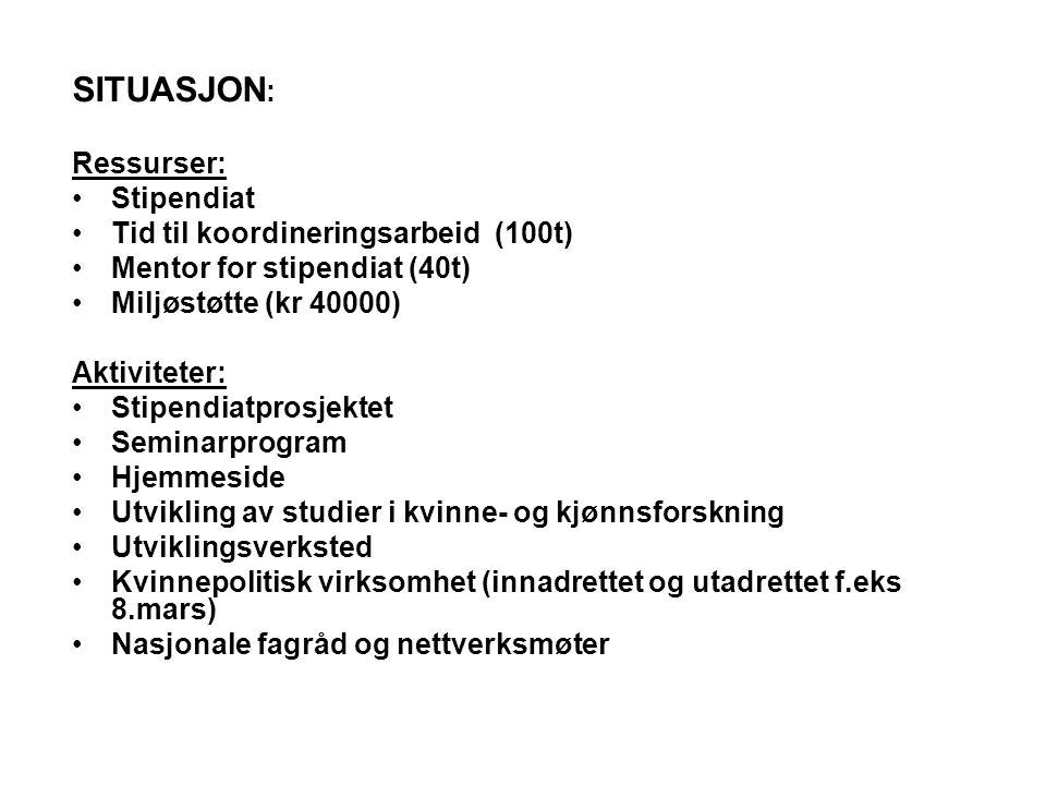 SITUASJON : Ressurser: •Stipendiat •Tid til koordineringsarbeid (100t) •Mentor for stipendiat (40t) •Miljøstøtte (kr 40000) Aktiviteter: •Stipendiatpr
