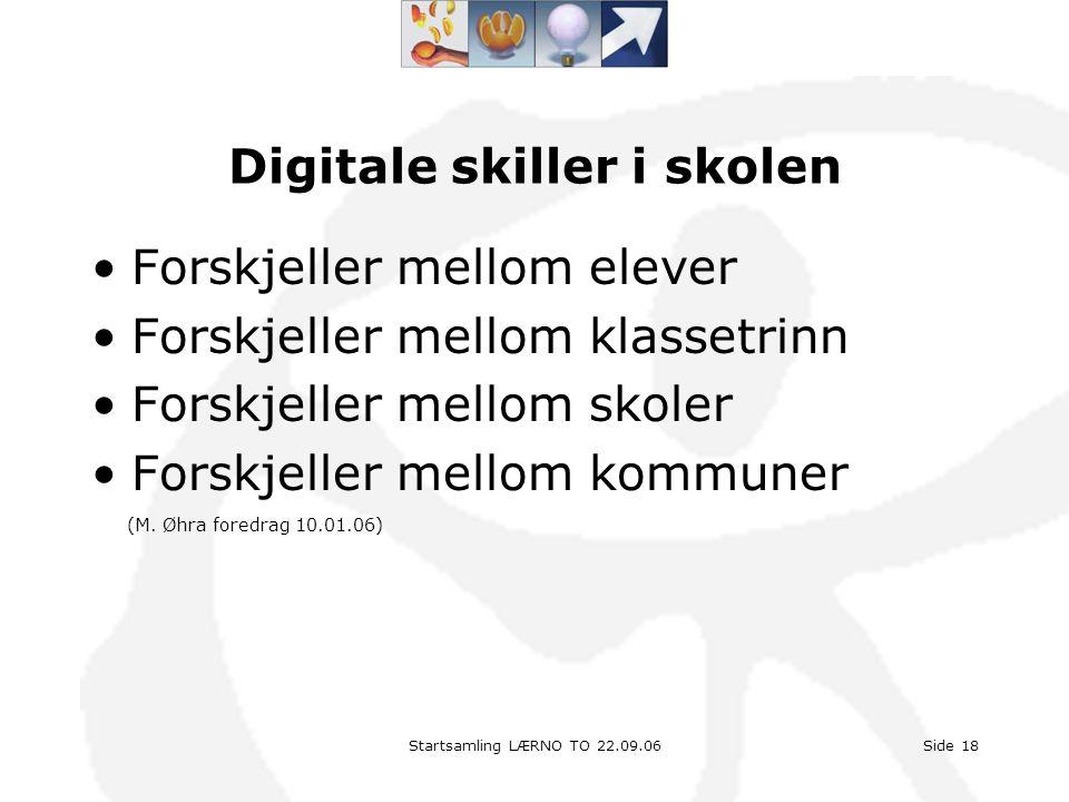 Startsamling LÆRNO TO 22.09.06Side 18 Digitale skiller i skolen •Forskjeller mellom elever •Forskjeller mellom klassetrinn •Forskjeller mellom skoler