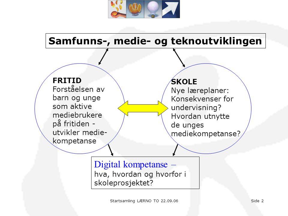 Side 2 Digital kompetanse – hva, hvordan og hvorfor i skoleprosjektet? Samfunns-, medie- og teknoutviklingen FRITID Forståelsen av barn og unge som ak