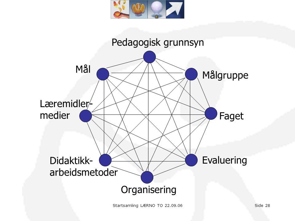 Startsamling LÆRNO TO 22.09.06Side 28 Pedagogisk grunnsyn Målgruppe Faget Evaluering Didaktikk- arbeidsmetoder Læremidler- medier Mål Organisering