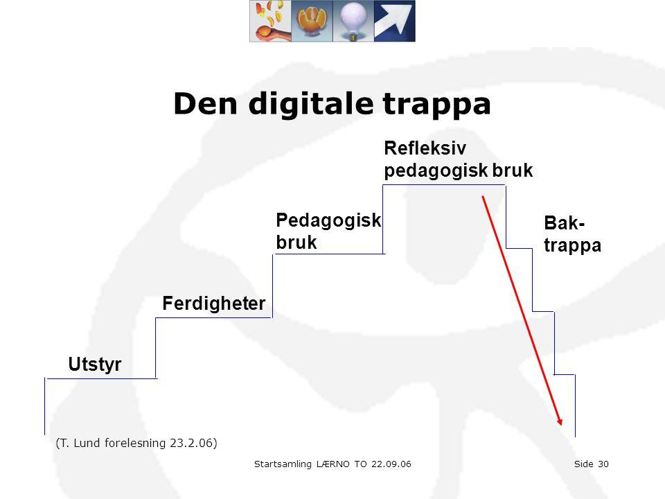 Startsamling LÆRNO TO 22.09.06Side 30 Den digitale trappa Utstyr Ferdigheter Pedagogisk bruk Refleksiv pedagogisk bruk Bak- trappa (T. Lund forelesnin