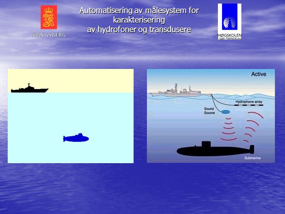 Automatisering av målesystem for karakterisering av hydrofoner og transdusere • Bygge opp et automatisert målesystem for - Måling - Presentasjon - Lag