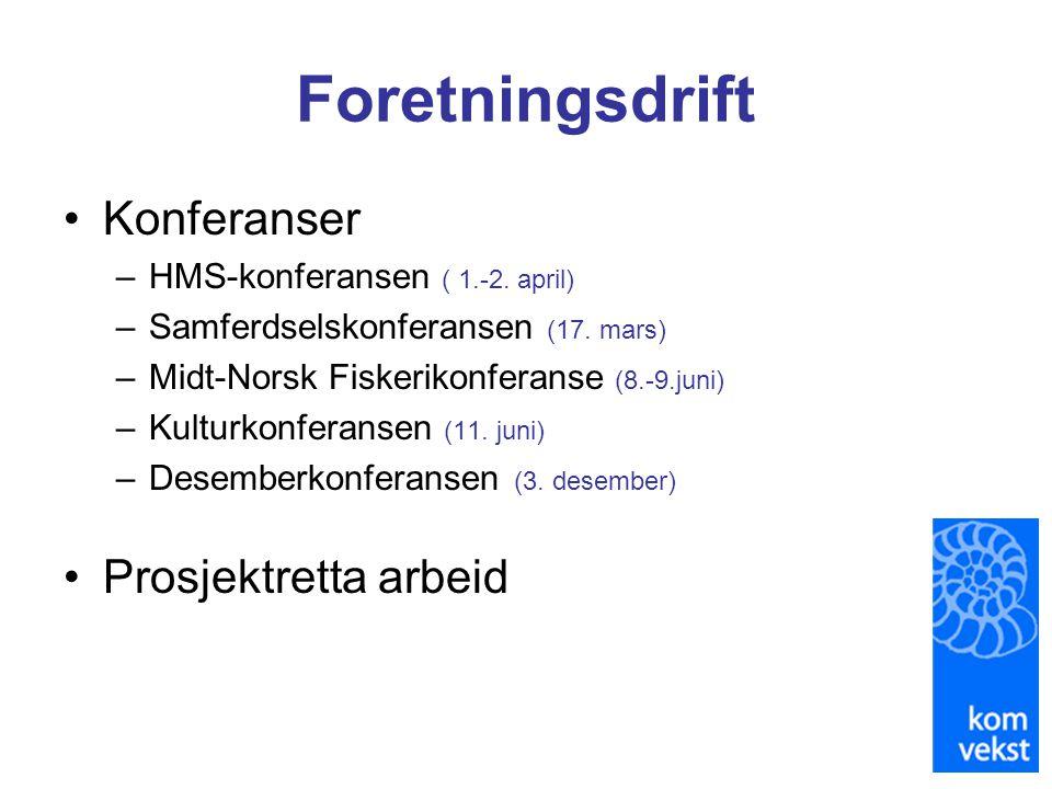 Foretningsdrift •Konferanser –HMS-konferansen ( 1.-2. april) –Samferdselskonferansen (17. mars) –Midt-Norsk Fiskerikonferanse (8.-9.juni) –Kulturkonfe