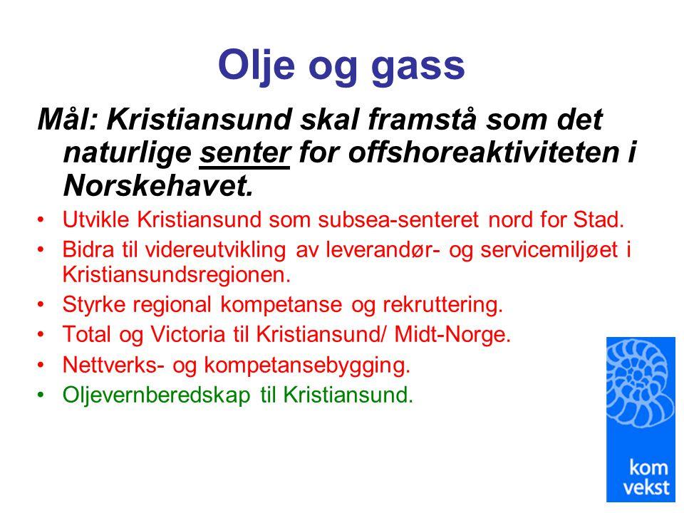 Olje og gass Mål: Kristiansund skal framstå som det naturlige senter for offshoreaktiviteten i Norskehavet. •Utvikle Kristiansund som subsea-senteret