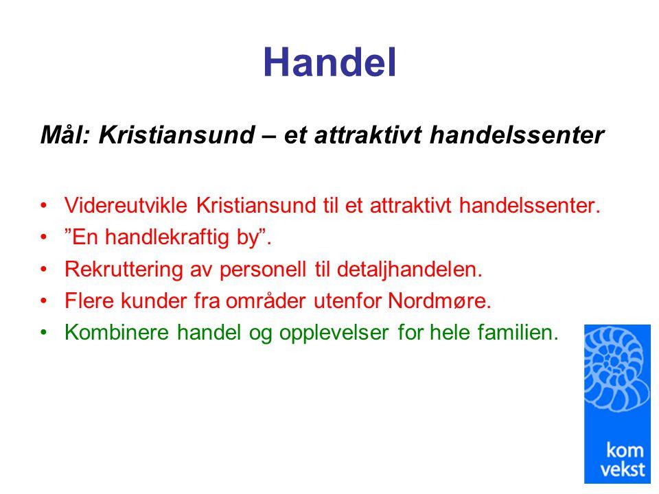 """Handel Mål: Kristiansund – et attraktivt handelssenter •Videreutvikle Kristiansund til et attraktivt handelssenter. •""""En handlekraftig by"""". •Rekrutter"""