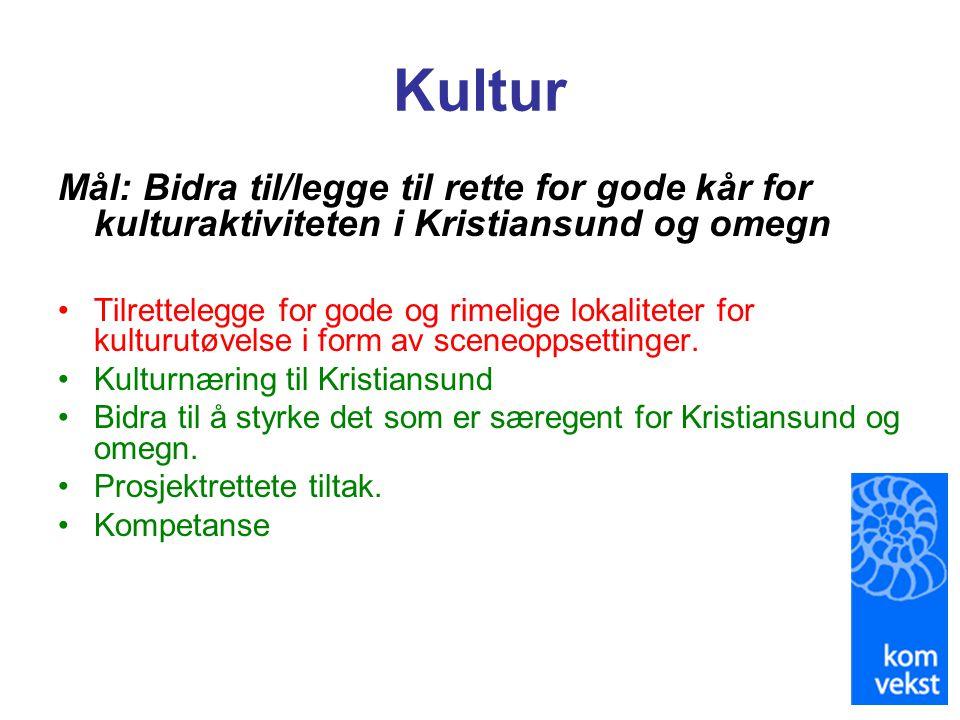 Kultur Mål: Bidra til/legge til rette for gode kår for kulturaktiviteten i Kristiansund og omegn •Tilrettelegge for gode og rimelige lokaliteter for k
