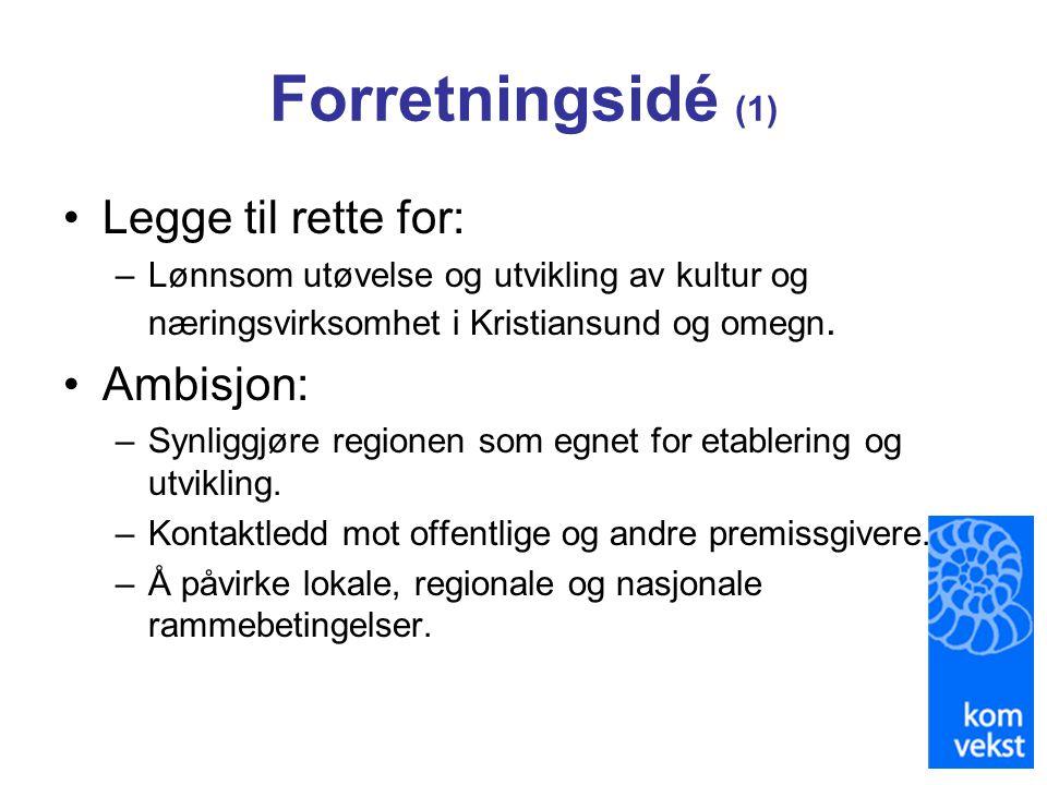 Forretningsidé (1) •Legge til rette for: –Lønnsom utøvelse og utvikling av kultur og næringsvirksomhet i Kristiansund og omegn. •Ambisjon: –Synliggjør