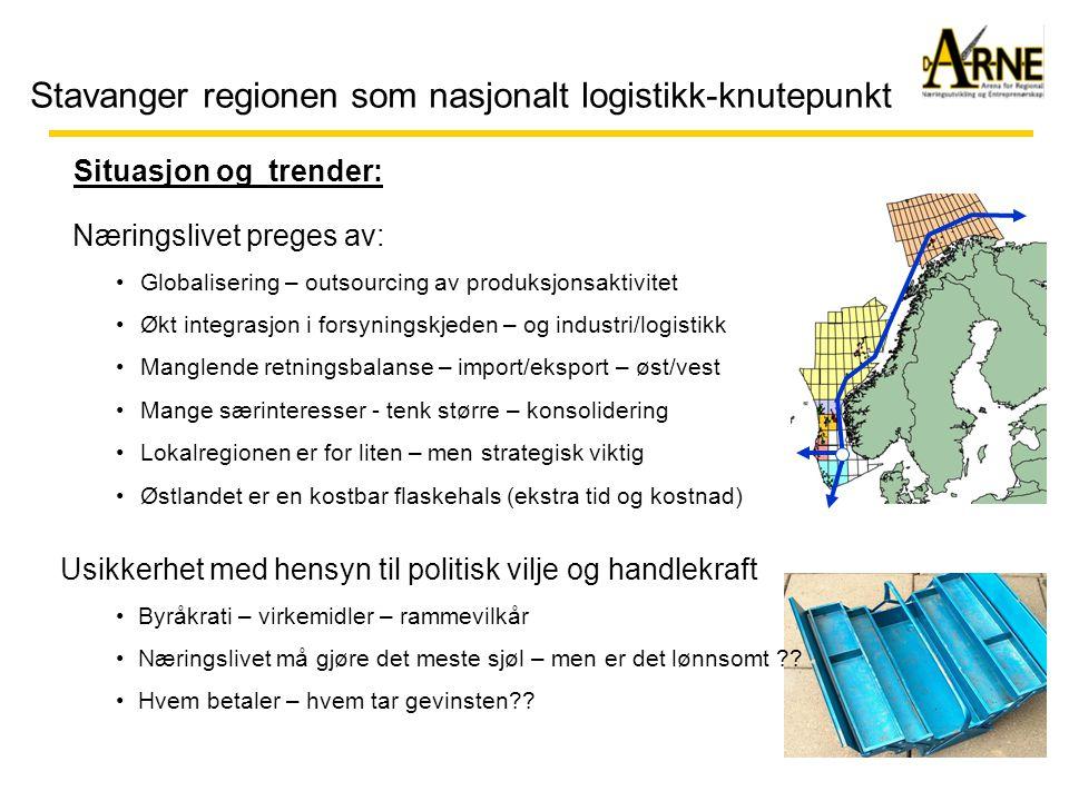 Stavanger regionen som nasjonalt logistikk-knutepunkt Situasjon og trender: Næringslivet preges av: •Globalisering – outsourcing av produksjonsaktivit