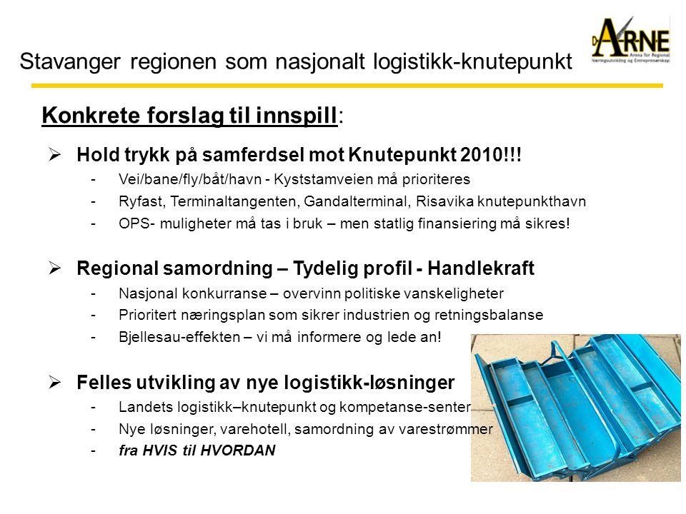 Stavanger regionen som nasjonalt logistikk-knutepunkt  Hold trykk på samferdsel mot Knutepunkt 2010!!! -Vei/bane/fly/båt/havn - Kyststamveien må prio