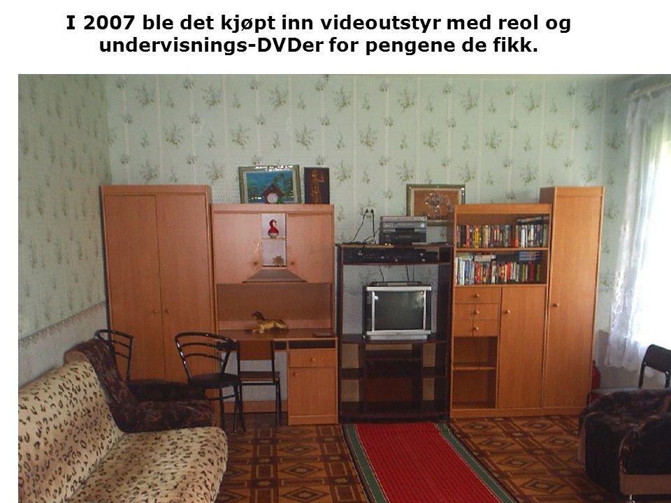 I 2007 ble det kjøpt inn videoutstyr med reol og undervisnings-DVDer for pengene de fikk.