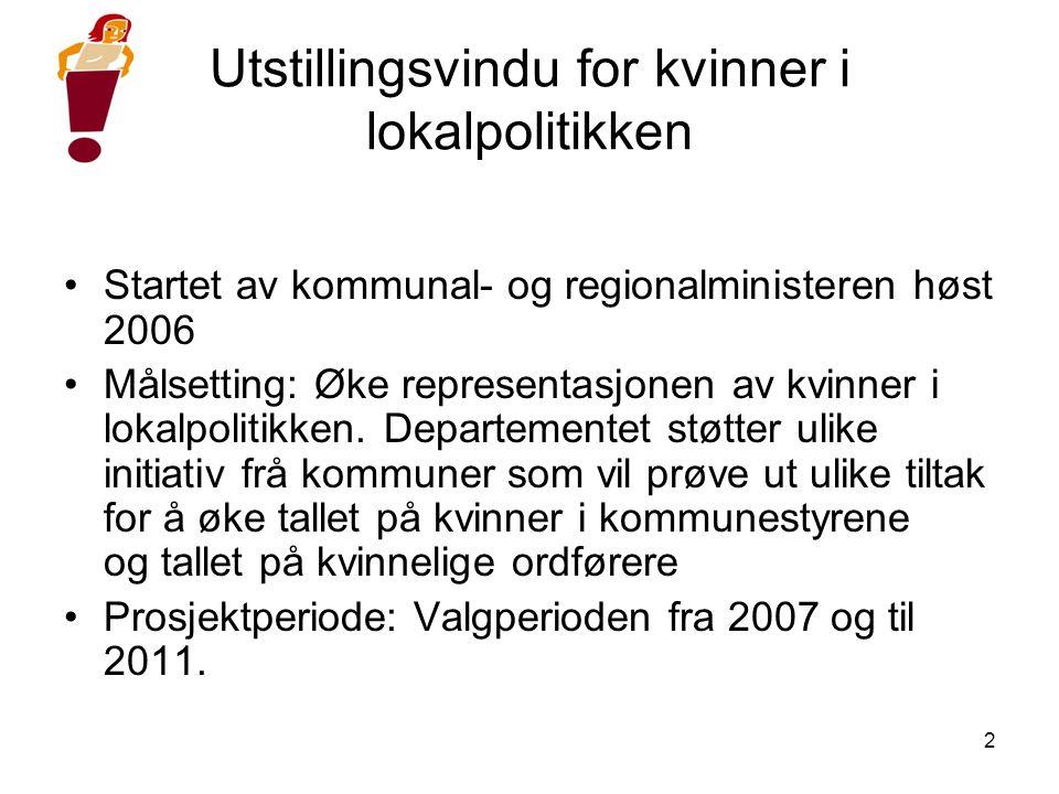 2 Utstillingsvindu for kvinner i lokalpolitikken •Startet av kommunal- og regionalministeren høst 2006 •Målsetting: Øke representasjonen av kvinner i lokalpolitikken.