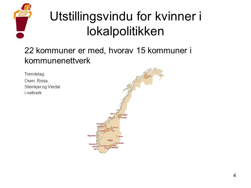 4 Utstillingsvindu for kvinner i lokalpolitikken 22 kommuner er med, hvorav 15 kommuner i kommunenettverk Trøndelag: Osen, Rissa, Steinkjer og Verdal i nettverk