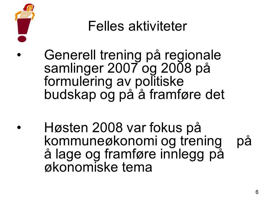 6 Felles aktiviteter •Generell trening på regionale samlinger 2007 og 2008 på formulering av politiske budskap og på å framføre det •Høsten 2008 var f