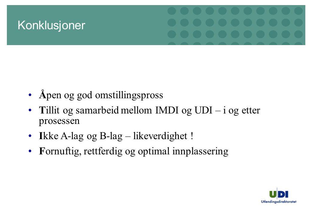 Konklusjoner •Åpen og god omstillingspross •Tillit og samarbeid mellom IMDI og UDI – i og etter prosessen •Ikke A-lag og B-lag – likeverdighet .