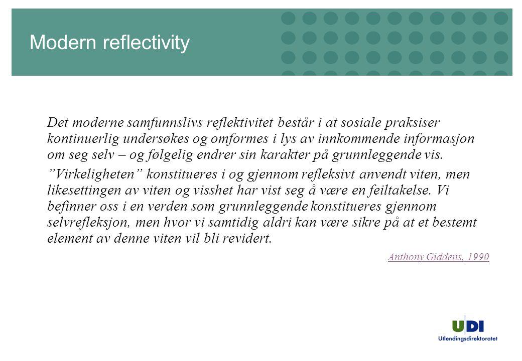 Modern reflectivity Det moderne samfunnslivs reflektivitet består i at sosiale praksiser kontinuerlig undersøkes og omformes i lys av innkommende informasjon om seg selv – og følgelig endrer sin karakter på grunnleggende vis.