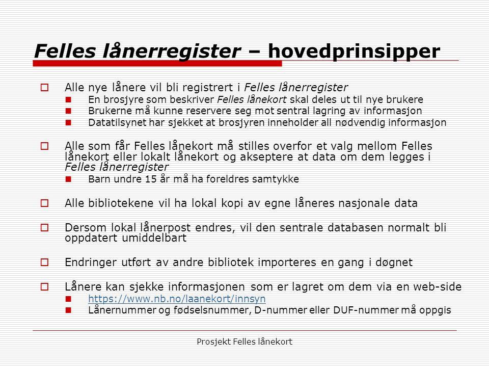 Prosjekt Felles lånekort Felles lånerregister – hovedprinsipper  Alle nye lånere vil bli registrert i Felles lånerregister  En brosjyre som beskrive