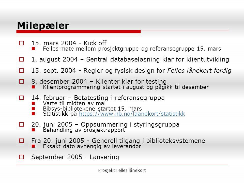 Prosjekt Felles lånekort Milepæler  15. mars 2004 - Kick off  Felles møte mellom prosjektgruppe og referansegruppe 15. mars  1. august 2004 – Sentr