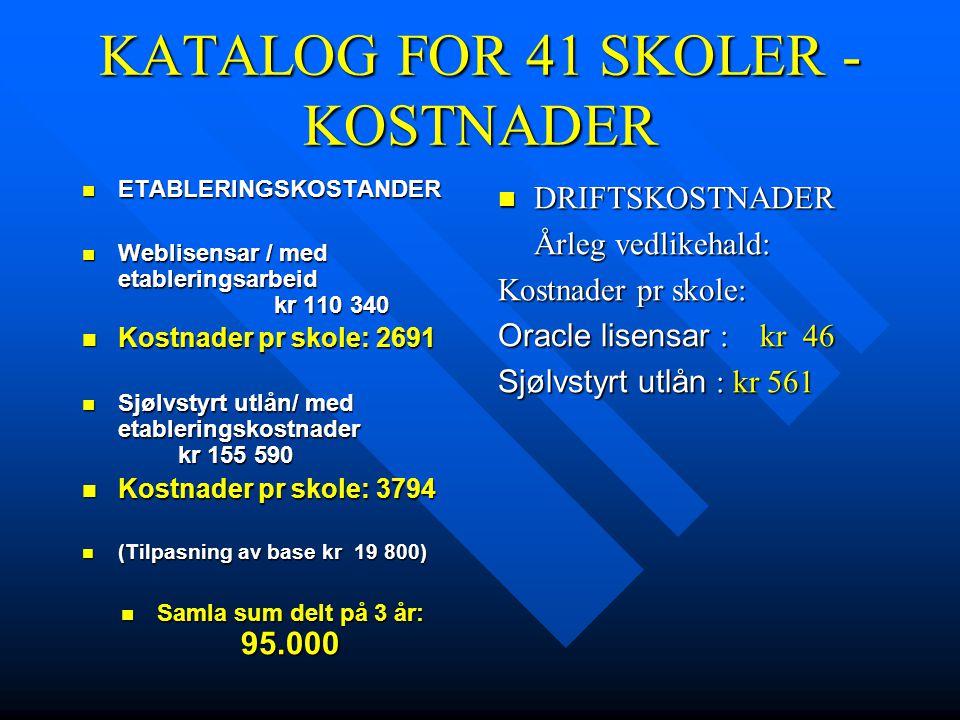 KATALOG FOR 41 SKOLER - KOSTNADER  ETABLERINGSKOSTANDER  Weblisensar / med etableringsarbeid kr 110 340  Kostnader pr skole: 2691  Sjølvstyrt utlån/ med etableringskostnader kr 155 590  Kostnader pr skole: 3794  (Tilpasning av base kr 19 800)  Samla sum delt på 3 år: 95.000  DRIFTSKOSTNADER Årleg vedlikehald: Kostnader pr skole: Oracle lisensar : kr 46 Sjølvstyrt utlån : kr 561