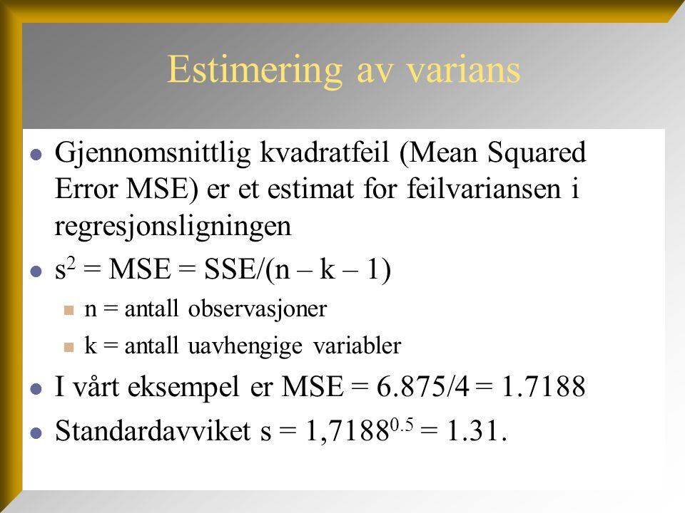 Estimering av varians  Gjennomsnittlig kvadratfeil (Mean Squared Error MSE) er et estimat for feilvariansen i regresjonsligningen  s 2 = MSE = SSE/(