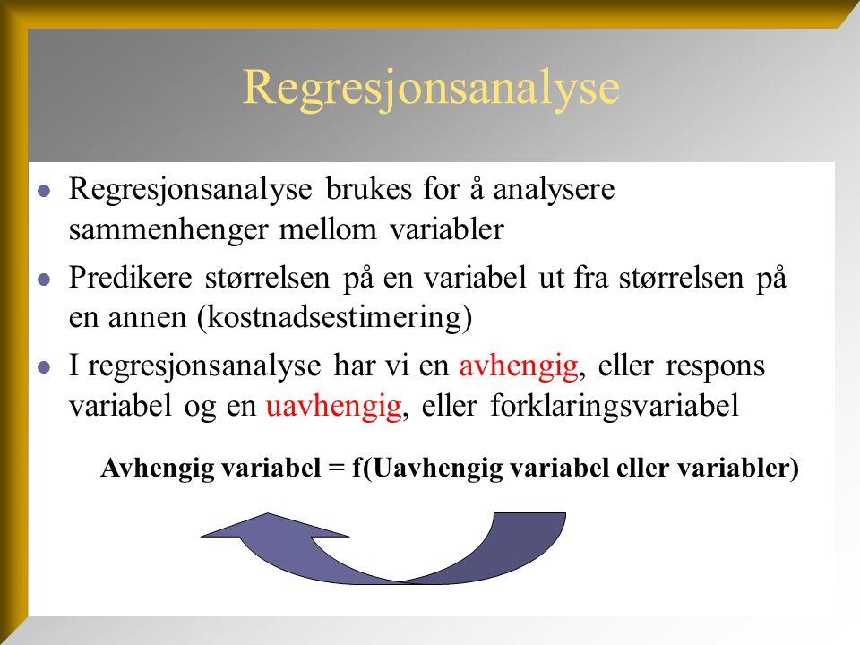 Spredningsdiagram  Spredningsdiagram brukes ofte for å illustrere sammenhengen mellom avhengig og uavhengig variabel  Plott avhengig variabel på X-aksen og uavhengig variabel på Y-aksen