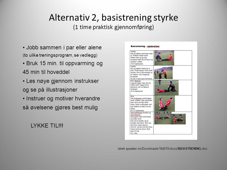 Alternativ 2, basistrening styrke (1 time praktisk gjennomføring) • Jobb sammen i par eller alene (to ulike treningsprogram, se vedlegg) • Bruk 15 min