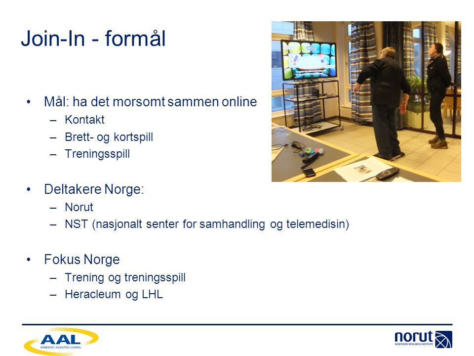 Join-In - formål •Mål: ha det morsomt sammen online –Kontakt –Brett- og kortspill –Treningsspill •Deltakere Norge: –Norut –NST (nasjonalt senter for s