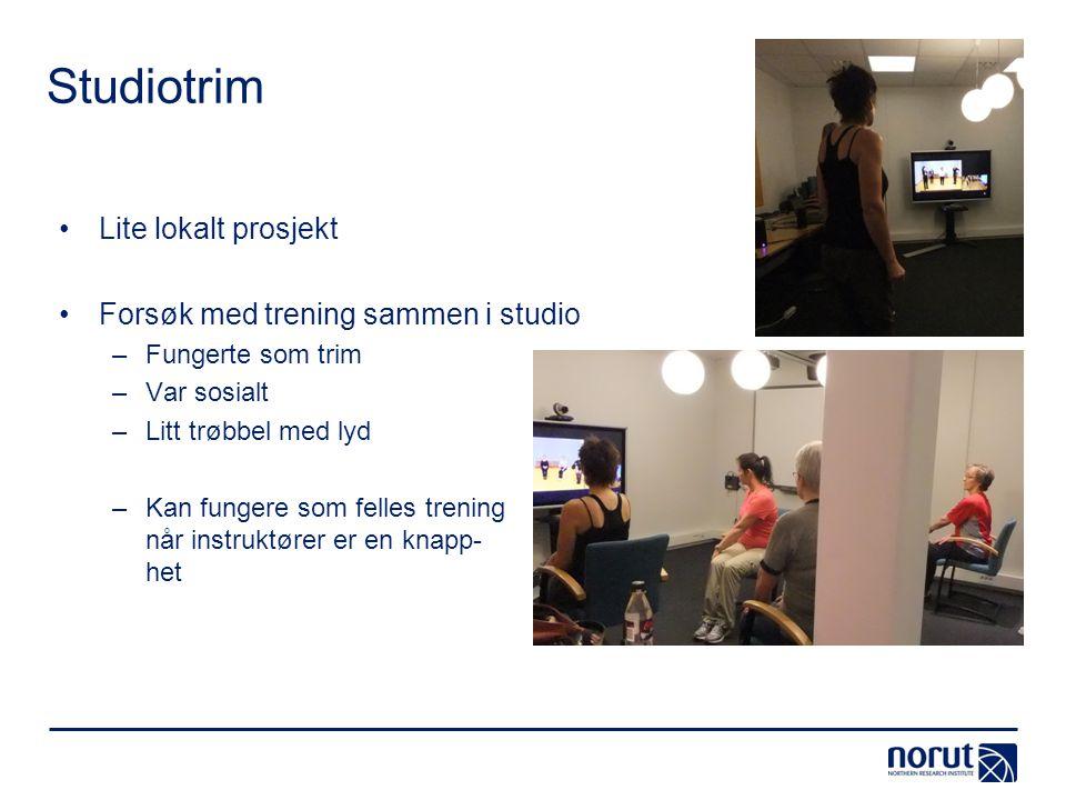 Studiotrim •Lite lokalt prosjekt •Forsøk med trening sammen i studio –Fungerte som trim –Var sosialt –Litt trøbbel med lyd –Kan fungere som felles tre