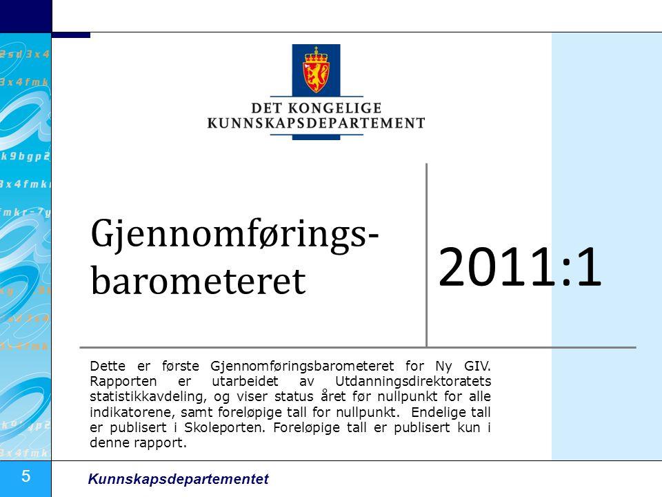 5 Kunnskapsdepartementet Gjennomførings- barometeret 2011:1 Dette er første Gjennomføringsbarometeret for Ny GIV.