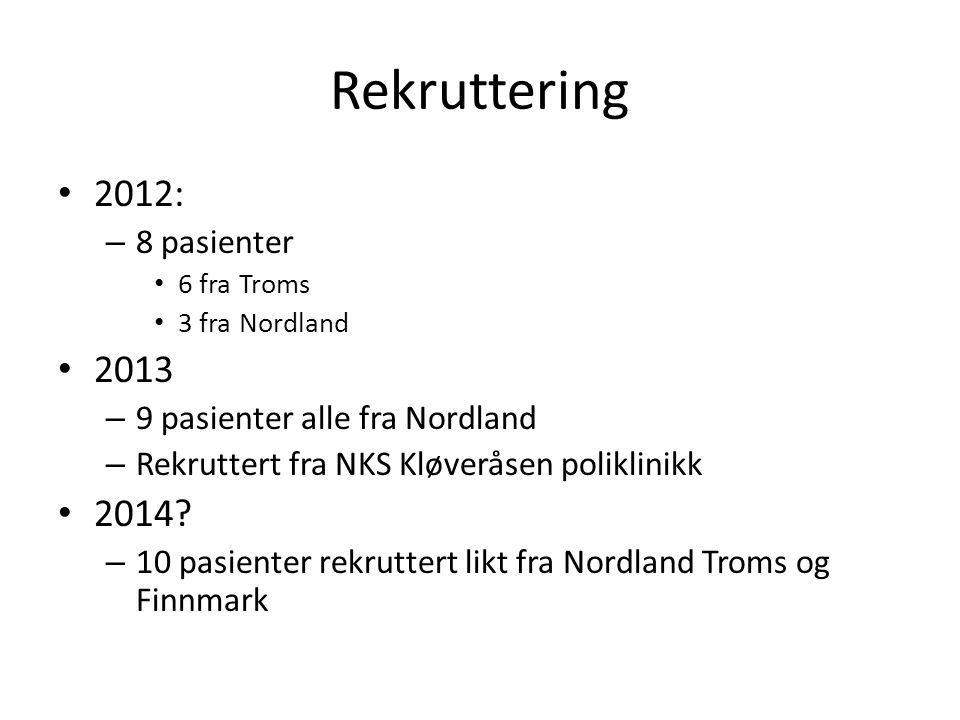 Rekruttering • 2012: – 8 pasienter • 6 fra Troms • 3 fra Nordland • 2013 – 9 pasienter alle fra Nordland – Rekruttert fra NKS Kløveråsen poliklinikk •