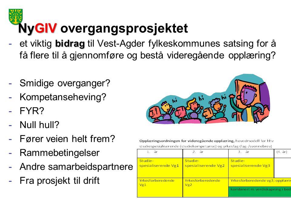 NyGIV NyGIV overgangsprosjektet bidrag -et viktig bidrag til Vest-Agder fylkeskommunes satsing for å få flere til å gjennomføre og bestå videregående opplæring.