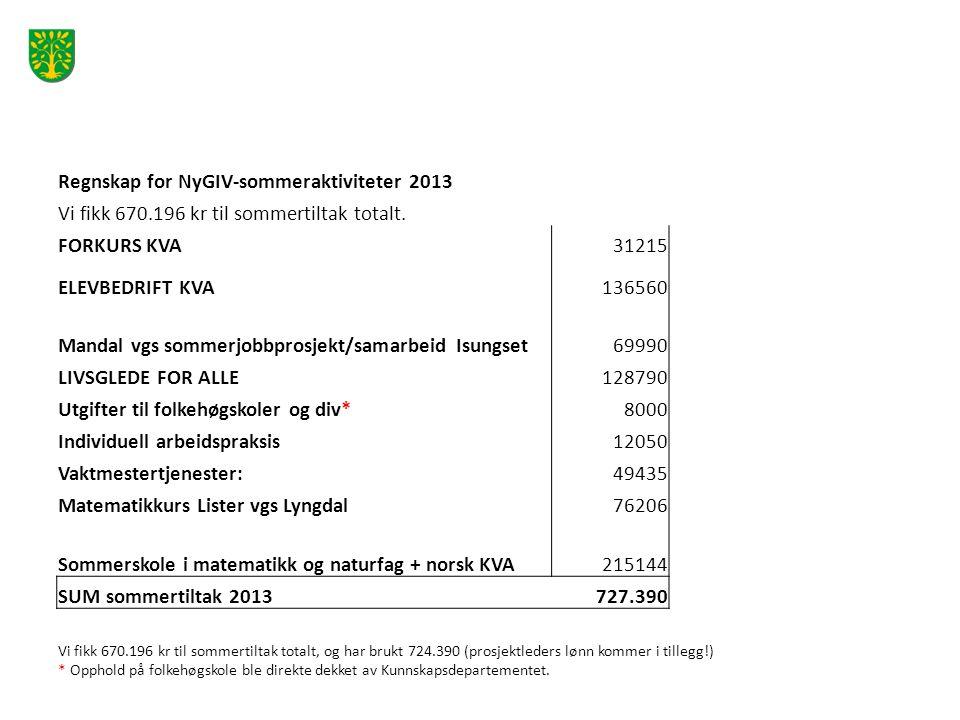 Regnskap for NyGIV-sommeraktiviteter 2013 Vi fikk 670.196 kr til sommertiltak totalt.