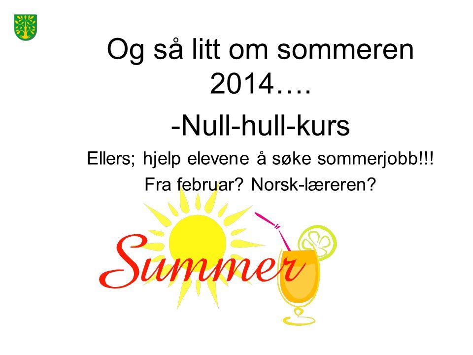 Og så litt om sommeren 2014….-Null-hull-kurs Ellers; hjelp elevene å søke sommerjobb!!.