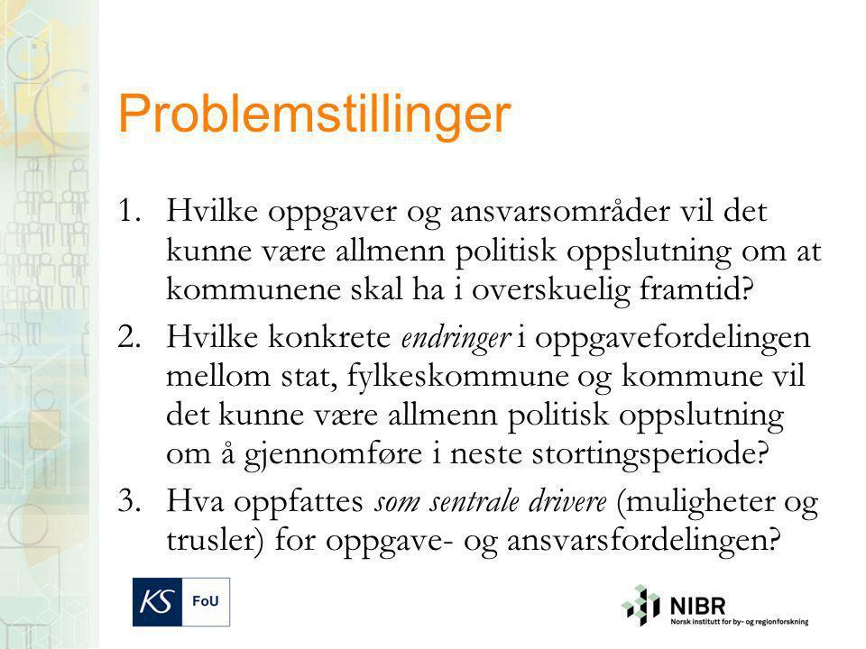 Problemstillinger 1.Hvilke oppgaver og ansvarsområder vil det kunne være allmenn politisk oppslutning om at kommunene skal ha i overskuelig framtid.