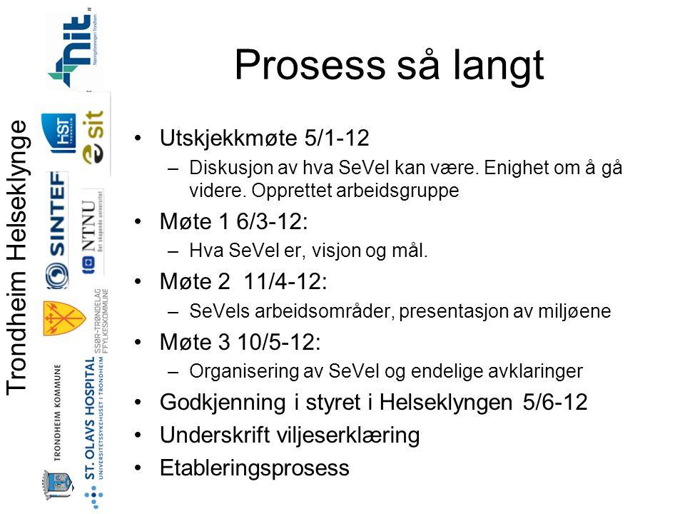 Trondheim Helseklynge Prosess så langt •Utskjekkmøte 5/1-12 –Diskusjon av hva SeVel kan være.
