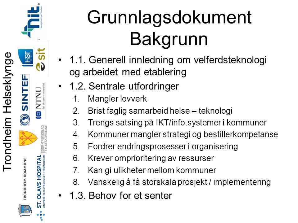 Trondheim Helseklynge Grunnlagsdokument Bakgrunn •1.1.