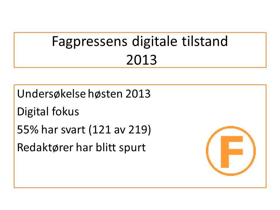 Fagpressens digitale tilstand 2013 Undersøkelse høsten 2013 Digital fokus 55% har svart (121 av 219) Redaktører har blitt spurt