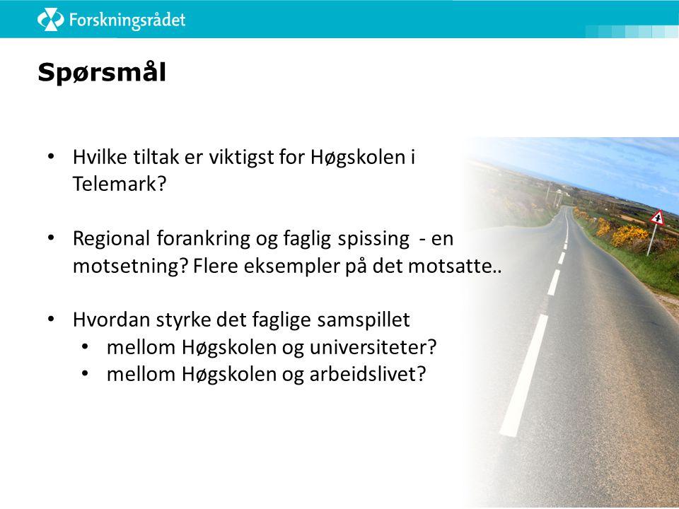 Spørsmål • Hvilke tiltak er viktigst for Høgskolen i Telemark.