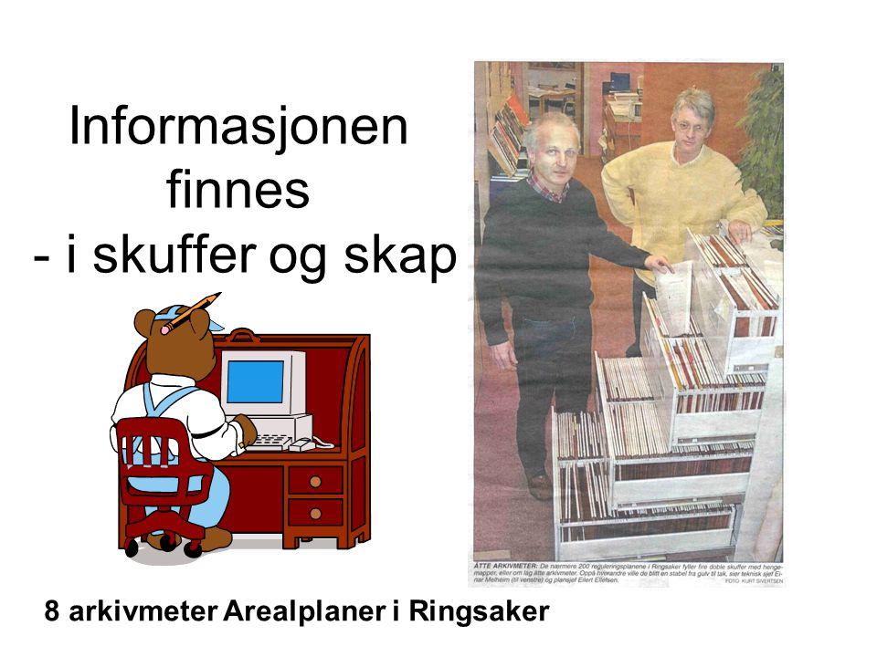 Informasjonen finnes - i skuffer og skap 8 arkivmeter Arealplaner i Ringsaker