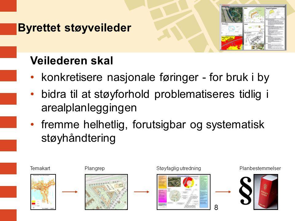 8 Byrettet støyveileder Veilederen skal •konkretisere nasjonale føringer - for bruk i by •bidra til at støyforhold problematiseres tidlig i arealplanl