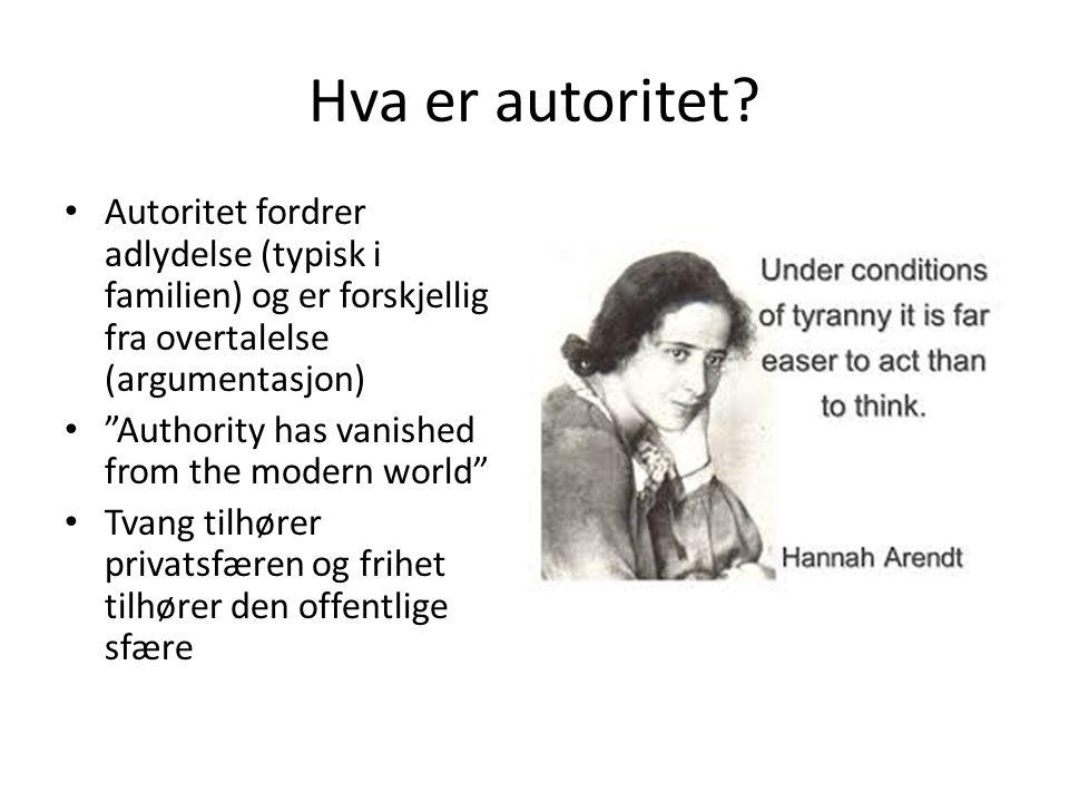 """Hva er autoritet? • Autoritet fordrer adlydelse (typisk i familien) og er forskjellig fra overtalelse (argumentasjon) • """"Authority has vanished from t"""