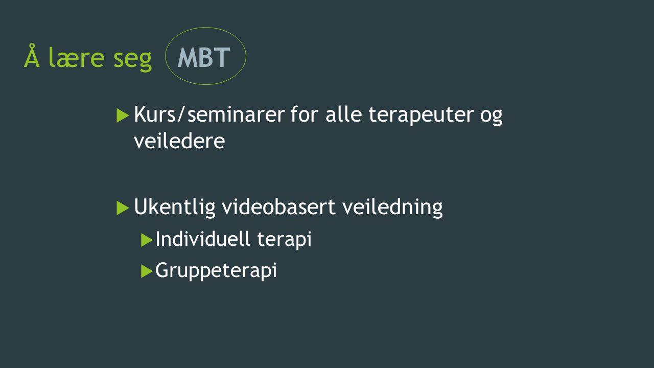 Å lære seg MBT  Kurs/seminarer for alle terapeuter og veiledere  Ukentlig videobasert veiledning  Individuell terapi  Gruppeterapi