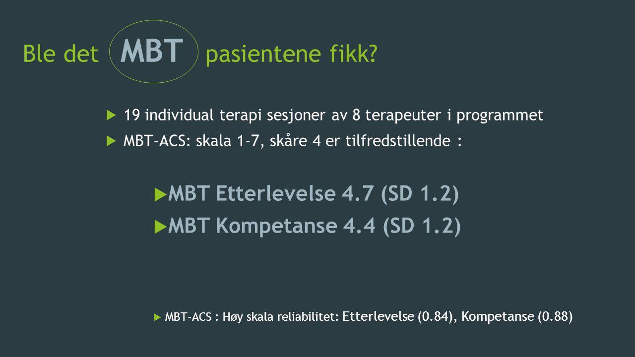 Ble det MBT pasientene fikk?  19 individual terapi sesjoner av 8 terapeuter i programmet  MBT-ACS: skala 1-7, skåre 4 er tilfredstillende :  MBT Et