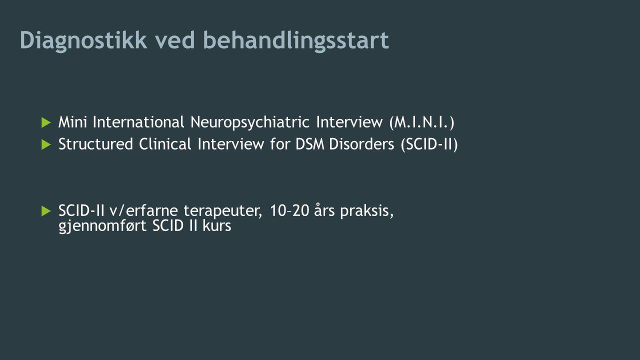 Diagnostikk ved behandlingsstart  Mini International Neuropsychiatric Interview (M.I.N.I.)  Structured Clinical Interview for DSM Disorders (SCID-II