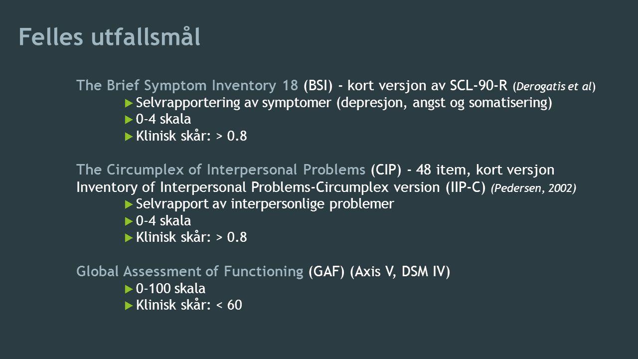 Felles utfallsmål The Brief Symptom Inventory 18 (BSI) - kort versjon av SCL-90-R (Derogatis et al)  Selvrapportering av symptomer (depresjon, angst